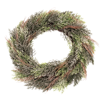 """Picture of Evergreen Wreath-Frosted Cypress (22"""")"""
