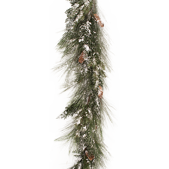 """Picture of Evergreen Garland-Frosted Mixed Pine with Cedar Cones (Plastic, 72"""")"""