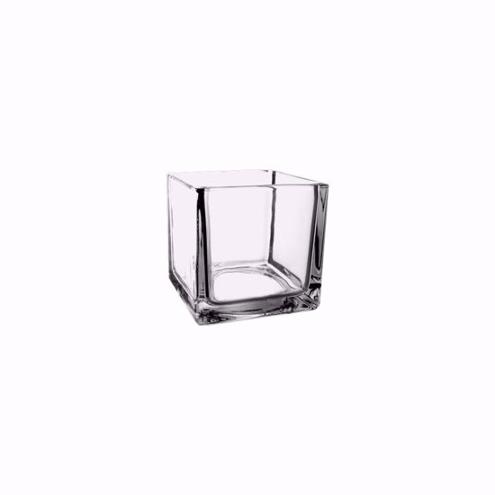 """Picture of Syndicate Sales  4"""" Square Vase- Clear"""