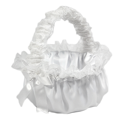 Picture of White Flower Girl Satin basket with White lace