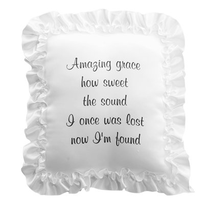 """Picture of White Satin Pillow with Ribbon Edge-""""Amazing Grace"""" Inscription"""