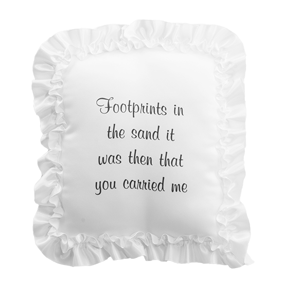 """Picture of White Satin Pillow with Ribbon Edge-""""Footprints"""" Inscription"""