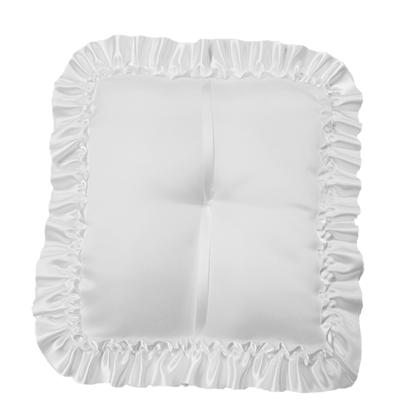Picture of White Square Pillow with Ruffled Satin Edge